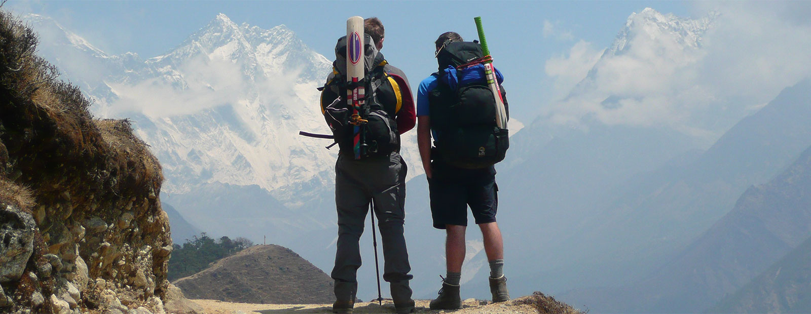 Cricket bat in front of Everest